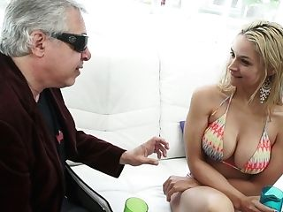 Fabulous And Youthful Blonde Big-titted Lady In Swimsuit Feeds On...