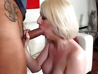 Tattooed Blonde Lovin' Her Clean-shaven Snatch Being Hammered