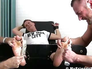 Nathan Justice Getting Kittle Tortured While He Is Tied Up